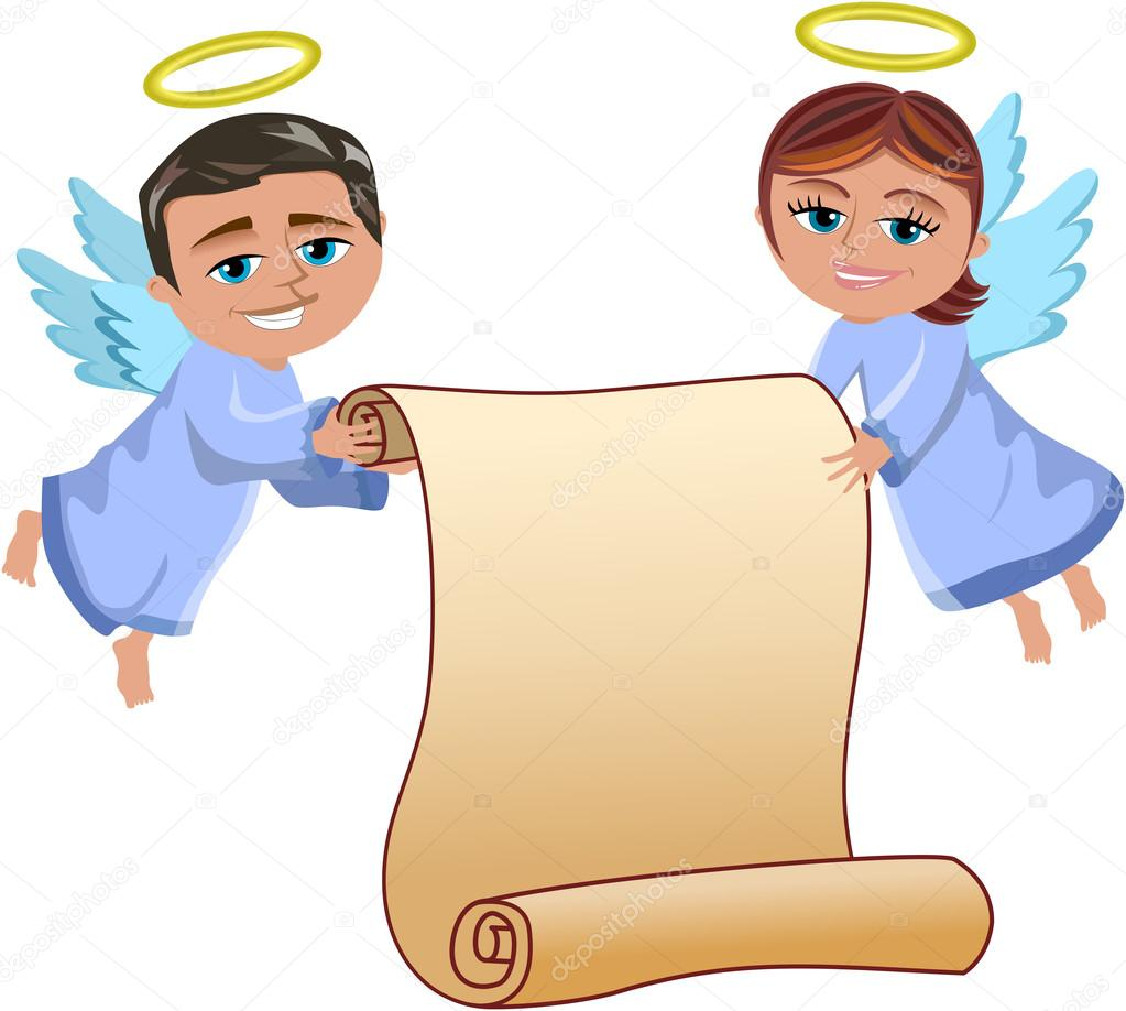 Christmas Angels Flying Holding Blank Parchment Isolated
