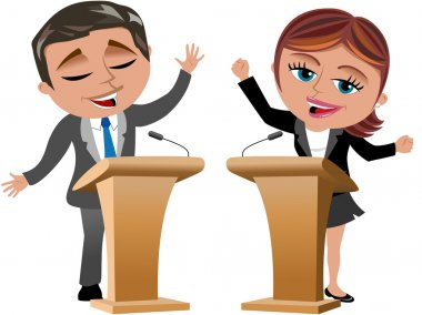 Businesswoman and businessman speaking from speaker stand isolated
