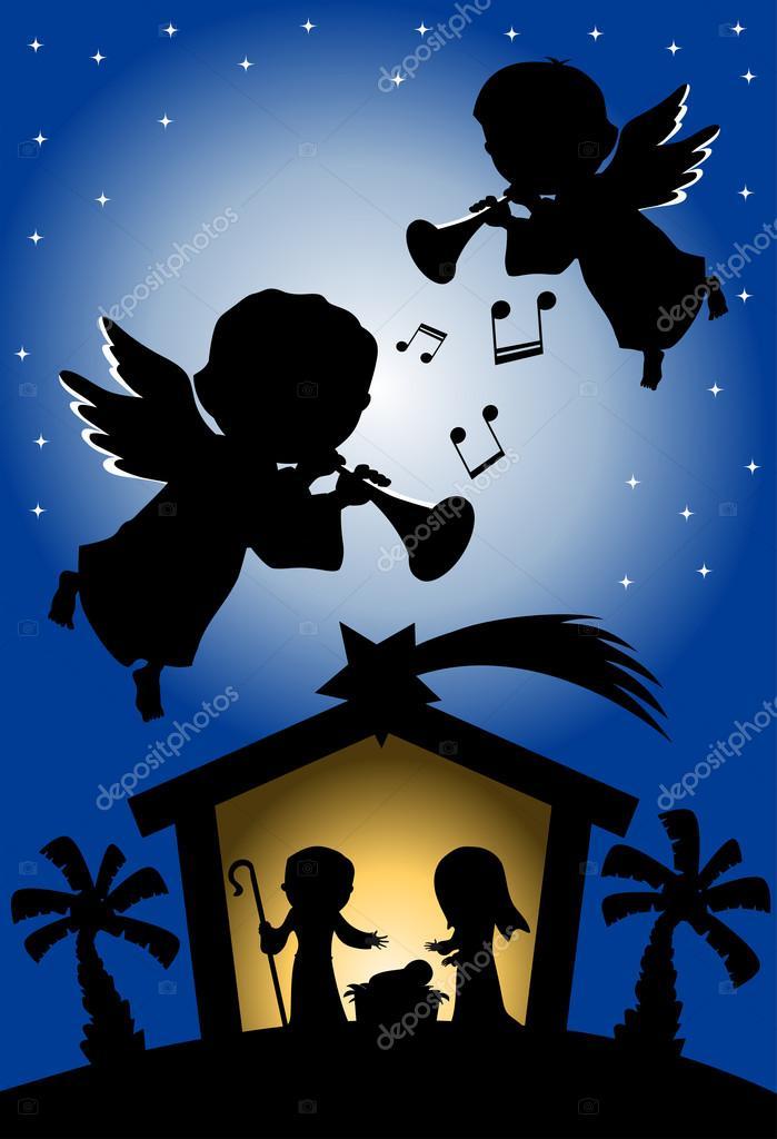 Nativita Natale Immagini.Scena Di Nativita Di Natale Di Notte Vettoriali Stock