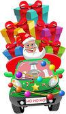 Santa Claus vezetés városi autó tele xmas keresztkötés ajándék elszigetelt díszített