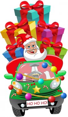 Santa Claus driving decorated city car full of xmas wrapped gift isolated