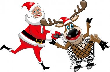 Happy Santa Claus running and pushing cart with reindeer inside isolated