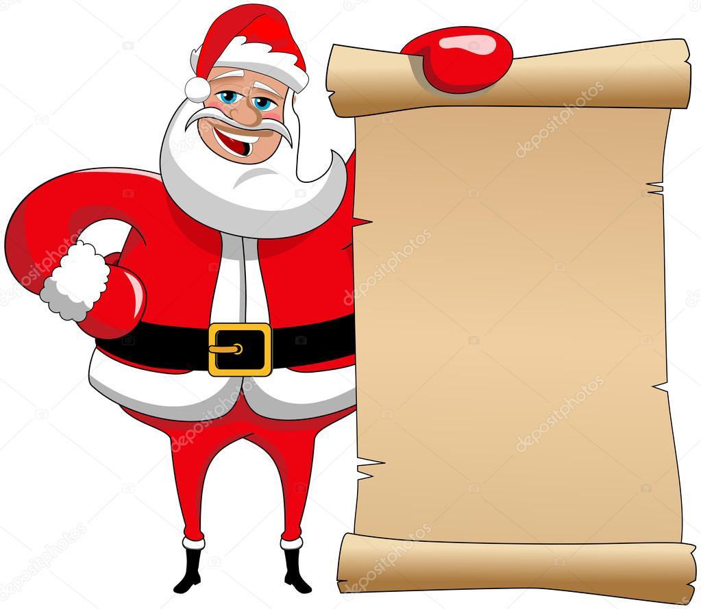 Dessin animé drôle Père Noël claus tenant vieux parchemin — Image vectorielle canbedone © #85159902