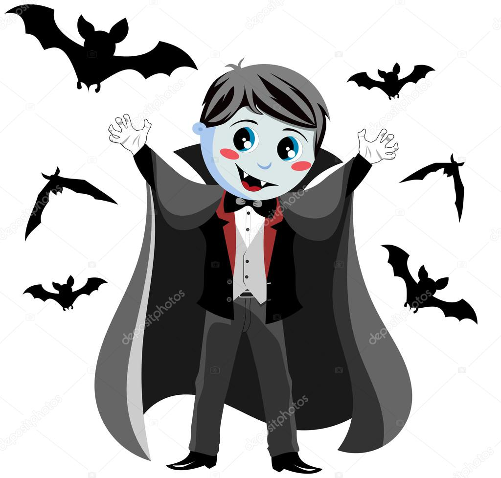funny vampire kid in a scary pose surrounding by flying bats isolated