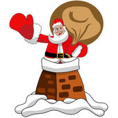Happy Santa Claus in the chimney isolated