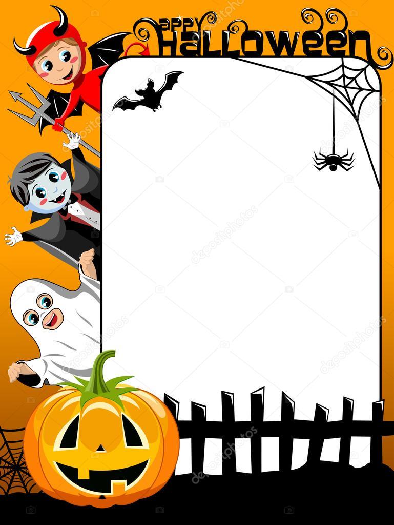 Vertical Halloween Frame Featuring Kids In Costume Pumpkin