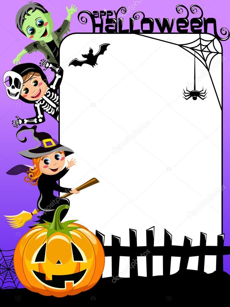 Marco vertical de Halloween con los niños en traje de — Archivo ...