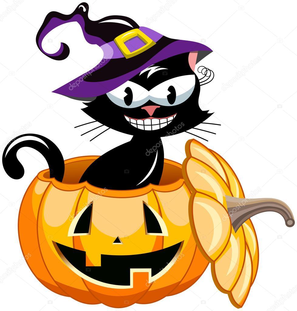 微笑戴女巫帽子万圣节南瓜里面的黑猫 — 图库矢量图像© canbedone #87114506