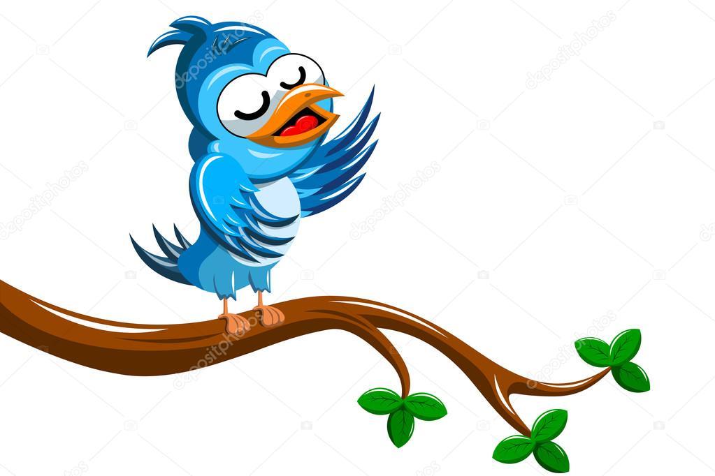 Dibujos Animados Cantar Del Pájaro Sobre Rama De árbol