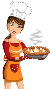 Smiling Woman Cook showing Thanksgiving Pumpkin Pie isolated stock vector