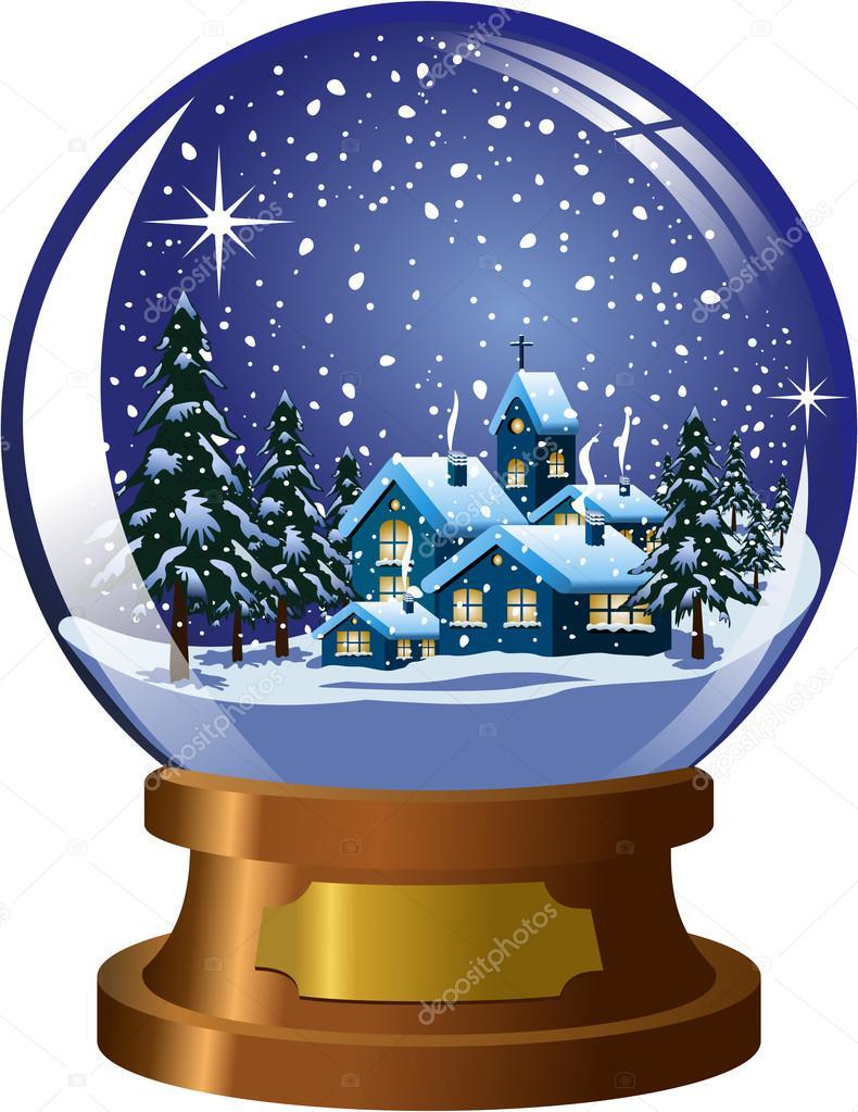 Schneekugel mit innen Winter Weihnachten nächtliche Landschaft unter ...