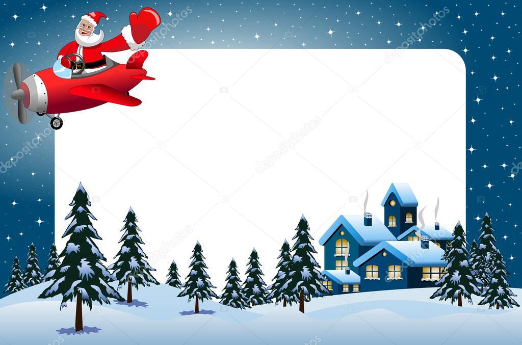 Xmas frame featuring santa Claus flying on airplane at xmas night ...