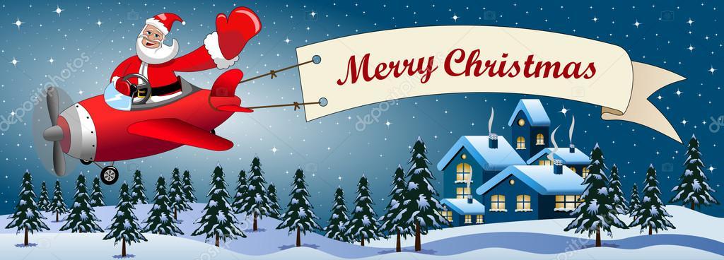 Weihnachtsmann Cartoon fliegen Flugzeug mit Frohe Weihnachten ...