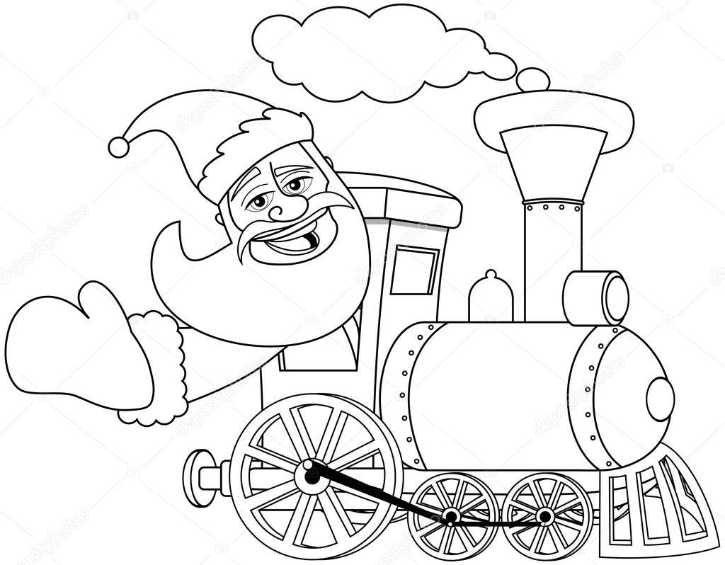 Dibujos animados Santa Claus conduciendo vapor locomotora para ...