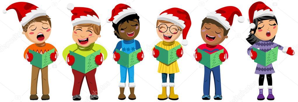multikulturelle kinder tragen weihnachtsm tze und singen weihnachtslied isoliert stockvektor