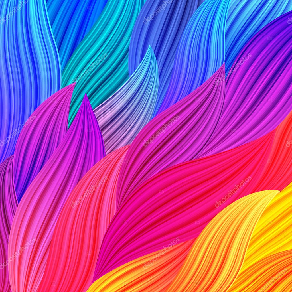 bright rainbow colored background with waves stock vector