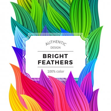 Celebration Background with Vibrant Colorful Feathers