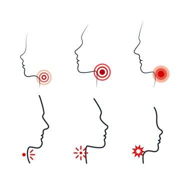 Sore Throat Vector Illustrations. Men, Women and Kid Feel Pain in Throat.