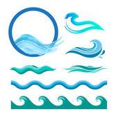 Fényképek Set of blue ocean waves.
