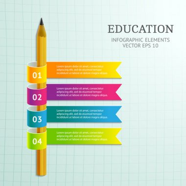 Abstract 3D infographic with pencil and colorful ribbons.