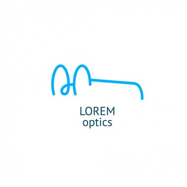 Blue linear round glasses logo