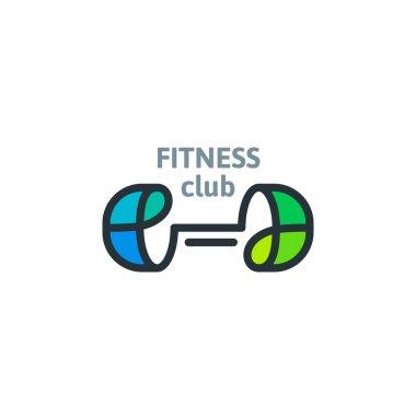 Linear fitness club template logo.