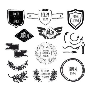 Set of sketched template retro vintage badges, borders, laurels,