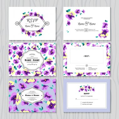 Set of Wedding Invitation Templates Cards