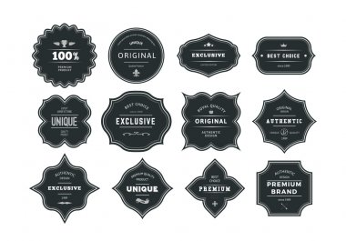 Set of Retro Styled Black Labels with Frames
