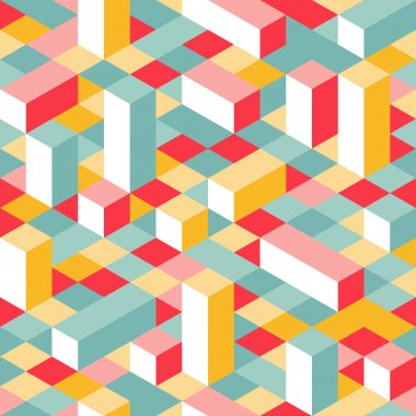 Colorful Isometric Seamless Pattern