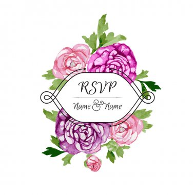 Vector Card with Watercolor Flowers