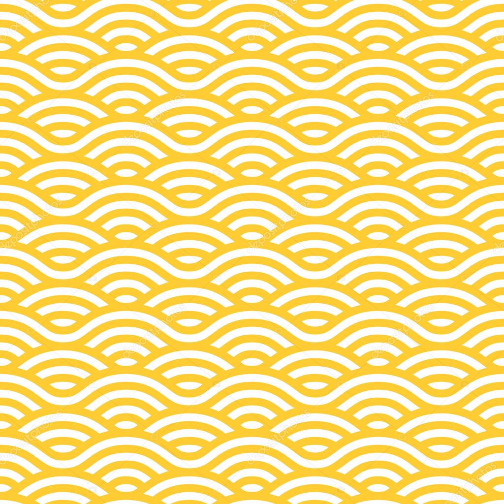 Yellow and white waves seamless pattern.