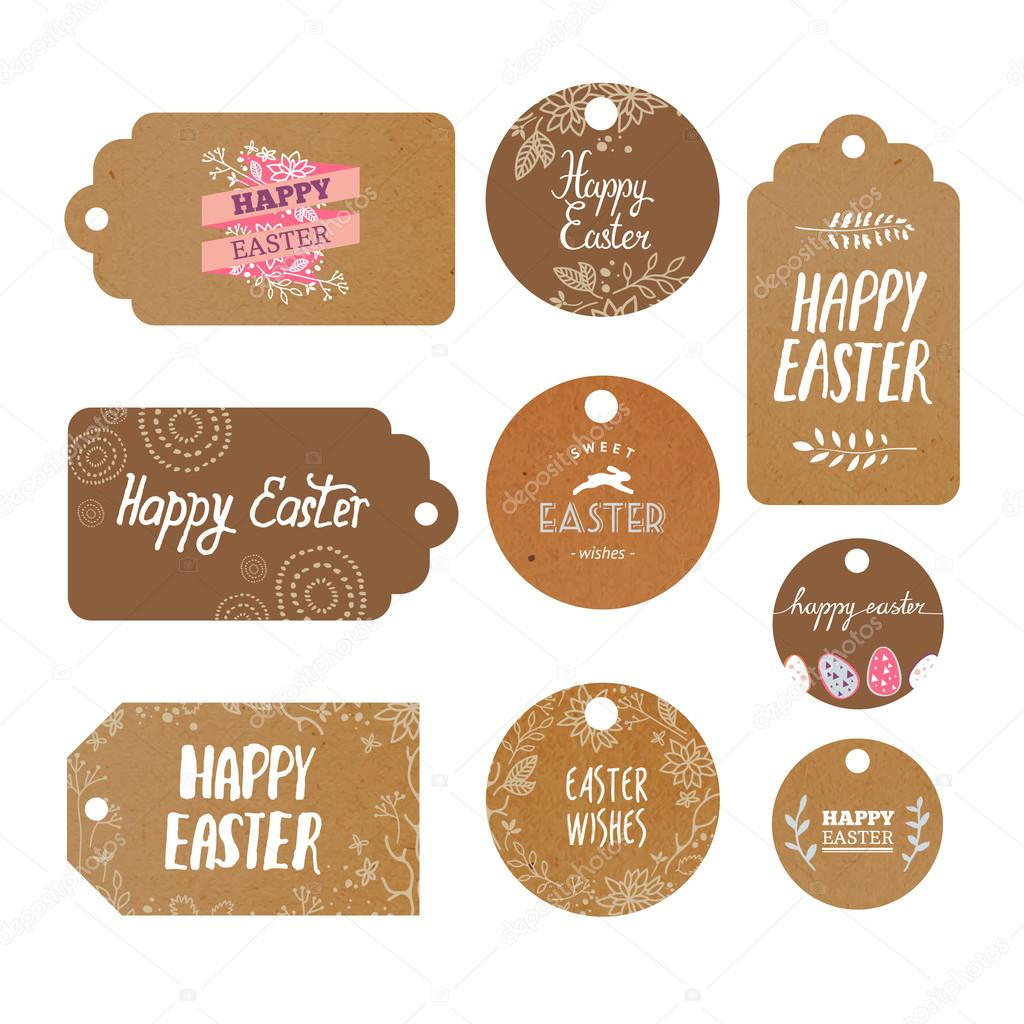 Set of Easter Kraft Labels