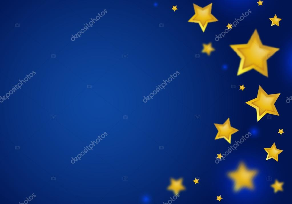 abstract blue background with gold stars border stock vector