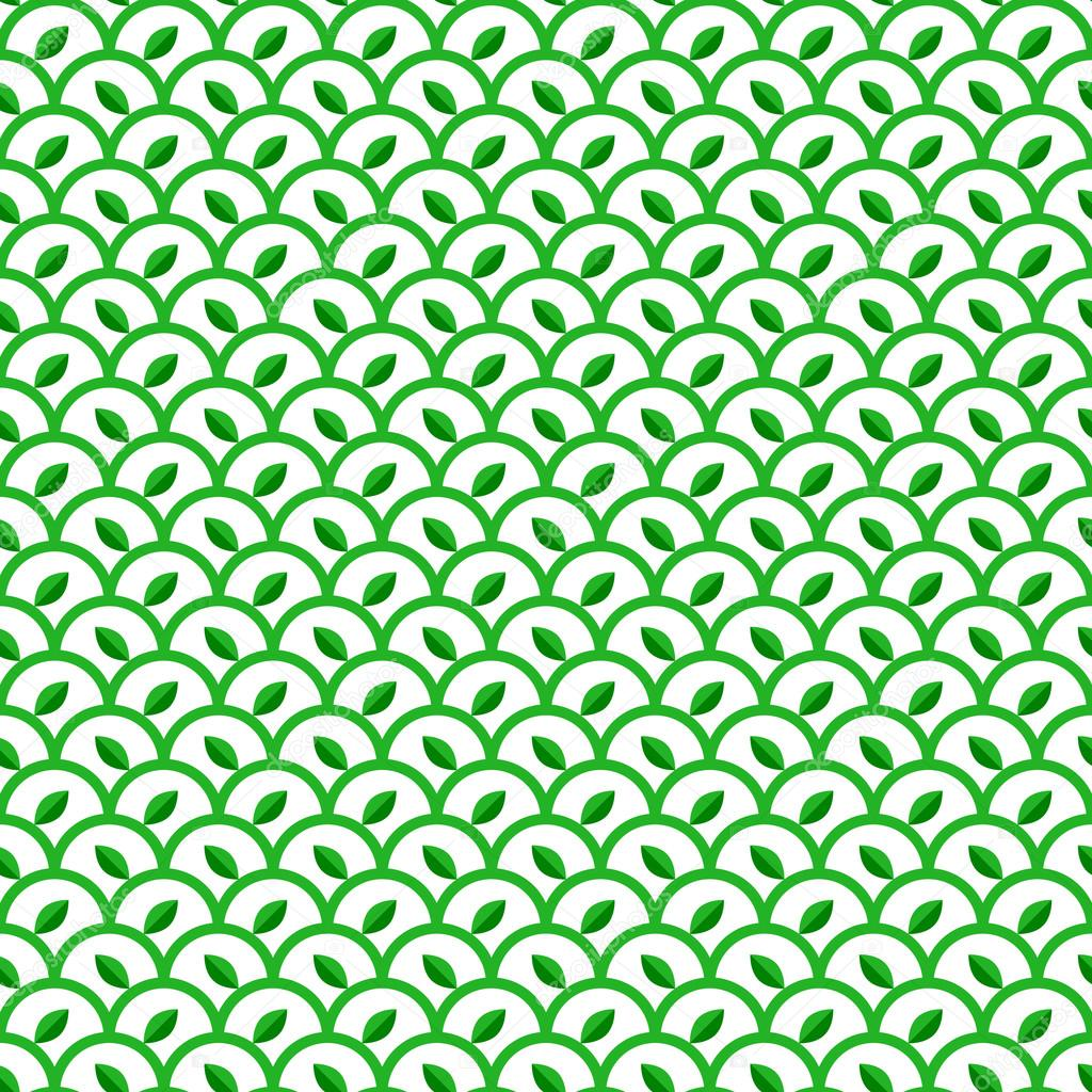 Green and White Waves Seamless Pattern with Leaves
