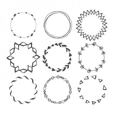 Set of Round Hand Drawn Ink Frames.