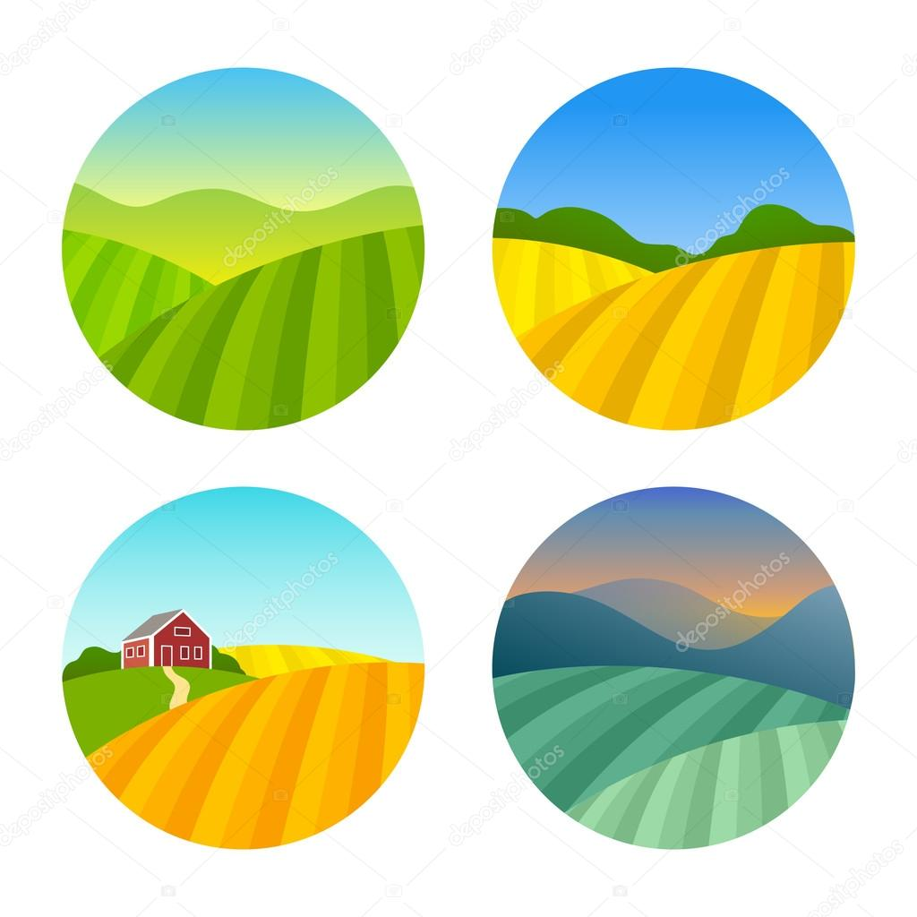 Set of Farm Fields Landscapes
