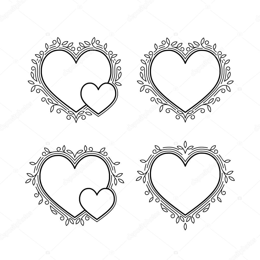 Set of Decorative Frames in Shapes of Heart — Stock Vector © bridddy ...