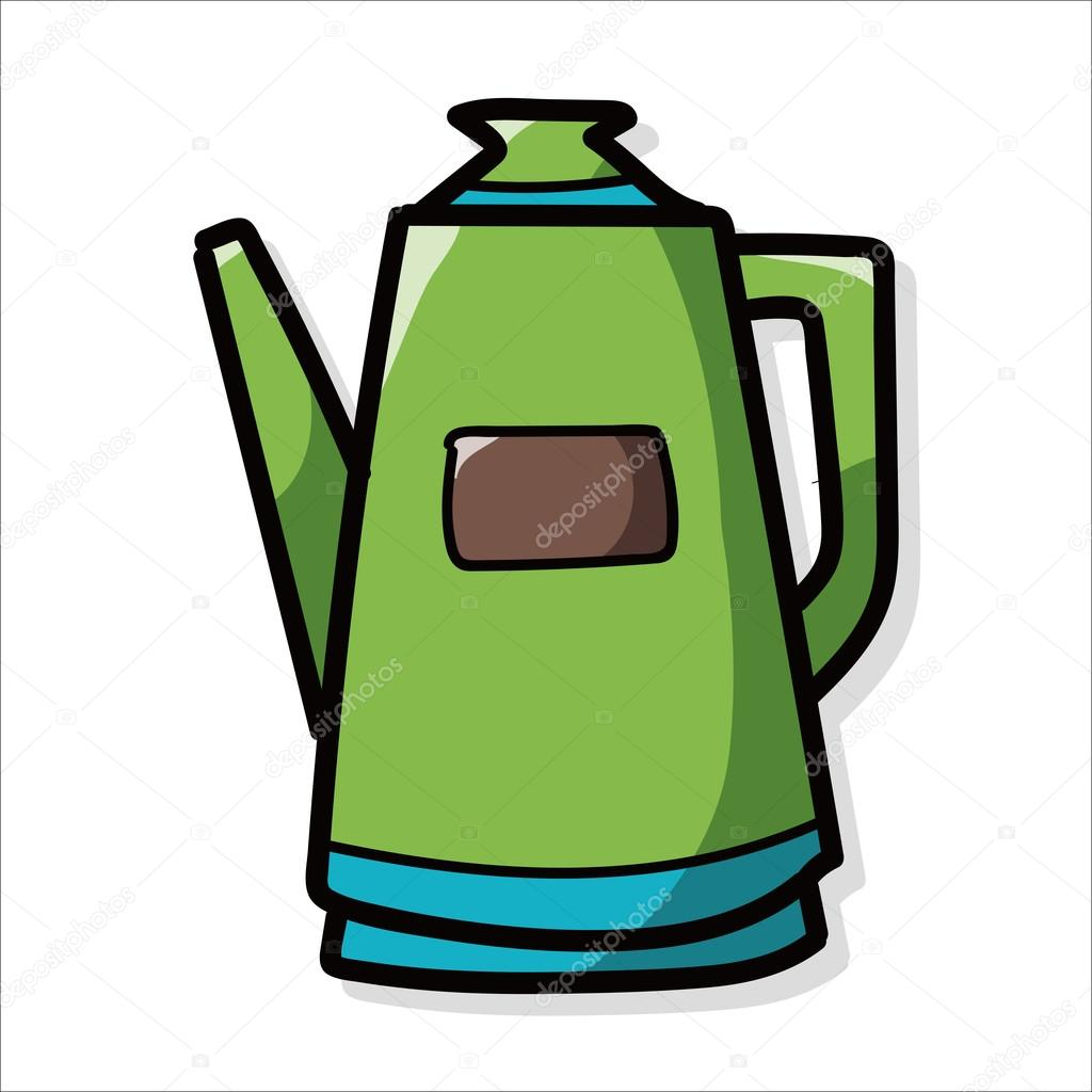 coffee kettle maker color doodle — Stock Vector © wenchiawang #81316820