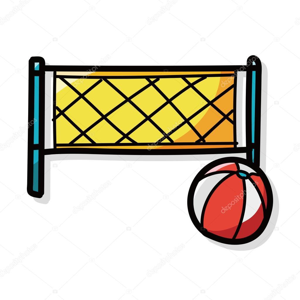 doodle de color de voleibol de playa — Archivo Imágenes Vectoriales ...