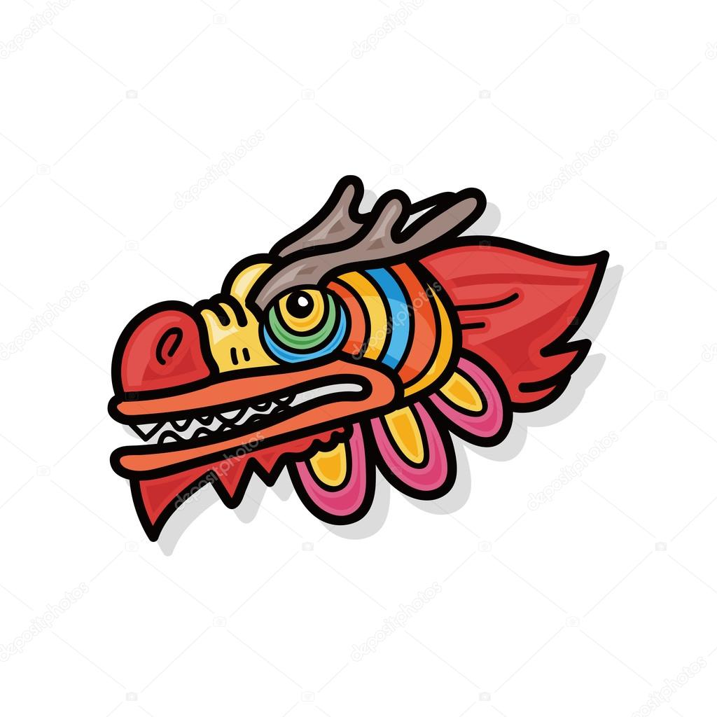 chinese new year dragon and lion dancing head doodle stock vector