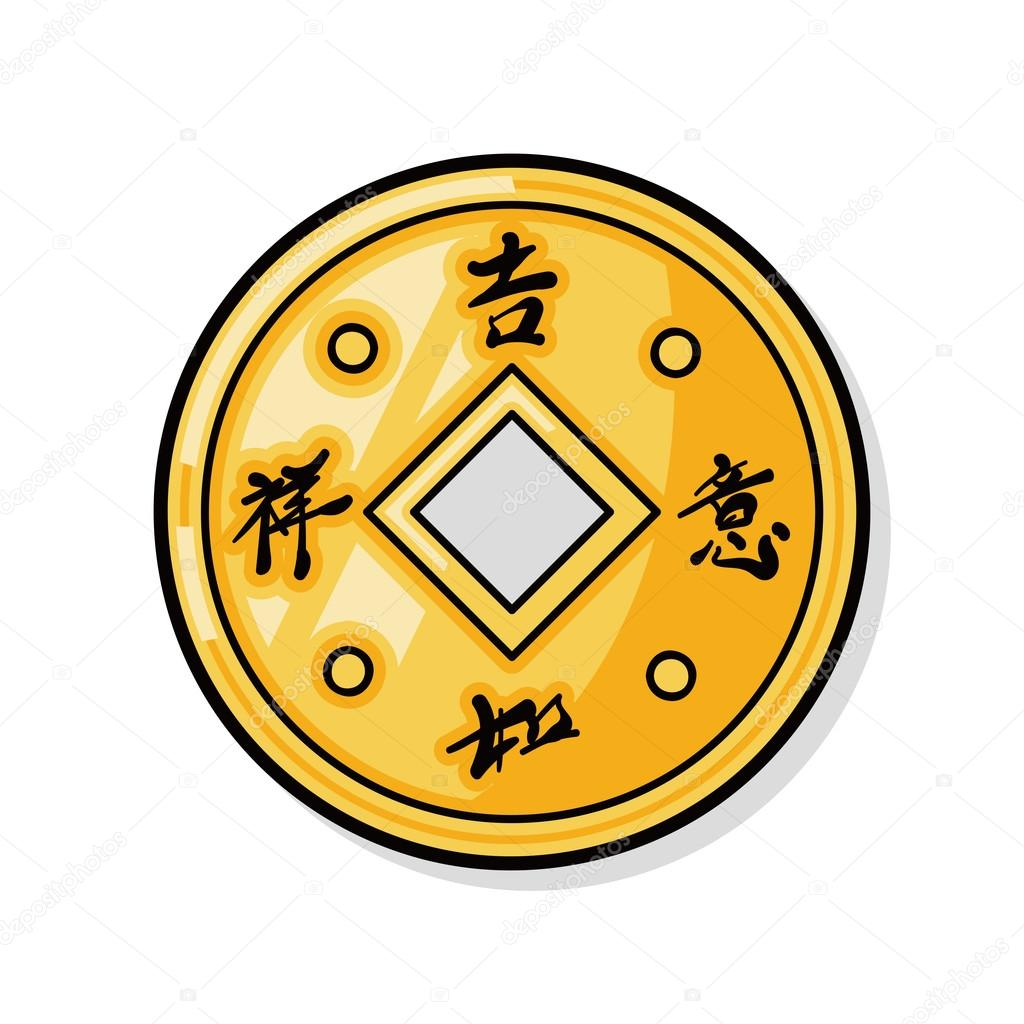 Chinese new year gold money doodle — Stock Vector ...