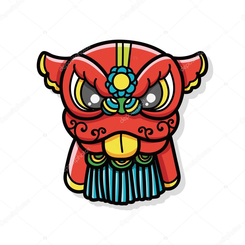 chinese new year dragon and lion dancing head doodle stock vector 85709318