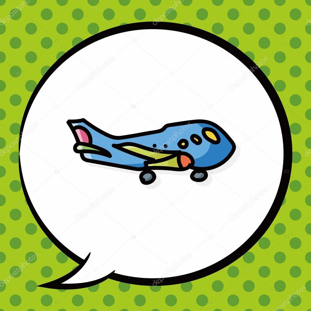 color de avión doodle, burbujas de discurso — Vector de stock ...