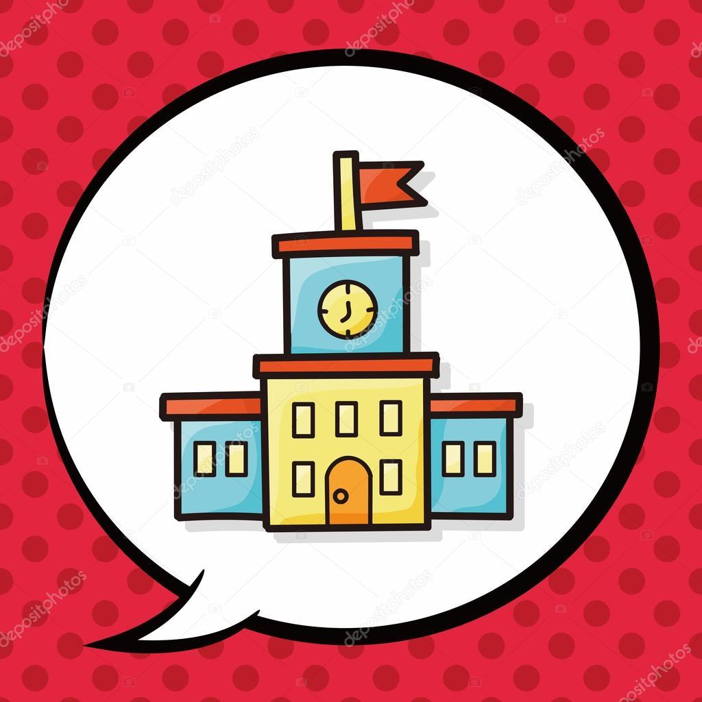 school building doodle, speech bubble