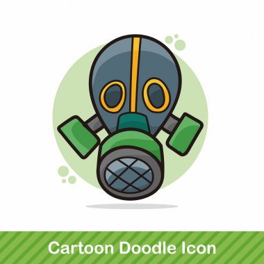 Gas masks color doodle vector illustration