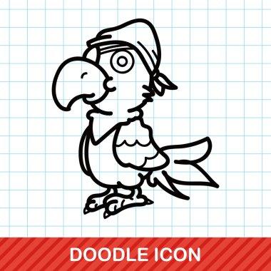 Parrot doodle vector illustration