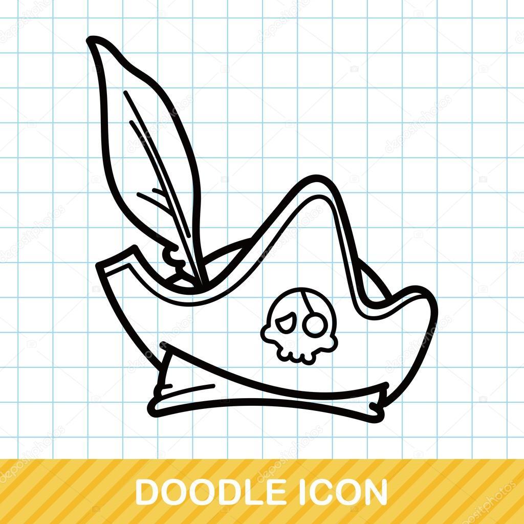 Korsan şapkası Doodle Vektör çizim Stok Vektör Wenchiawang 94481262