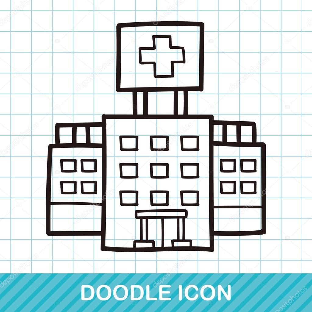Ilustracin de vector de doodle color de edificio del hospital ilustracin de vector de doodle color de edificio del hospital archivo imgenes vectoriales malvernweather Images
