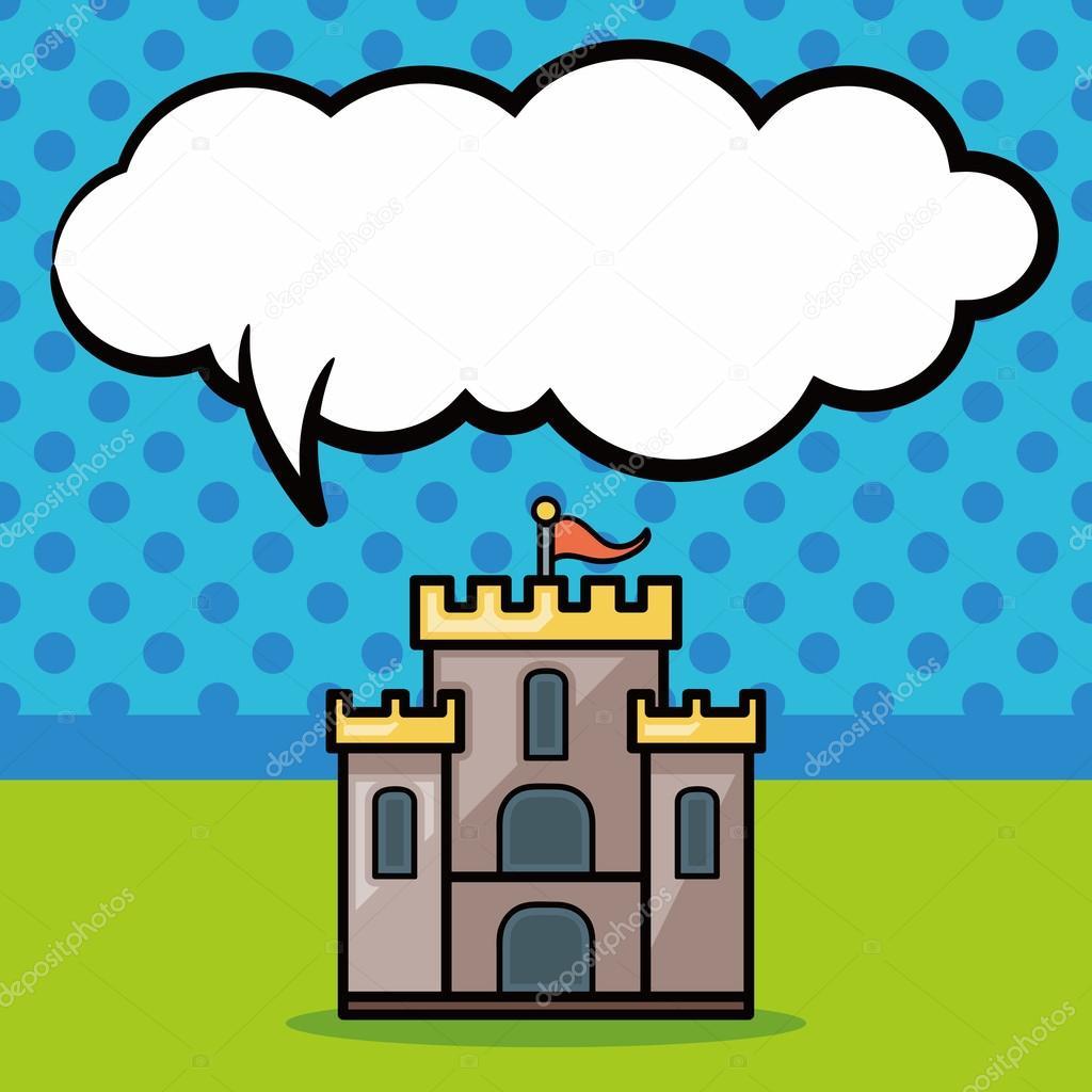 Schloss doodle, Sprechblase — Stockvektor © wenchiawang #97779134